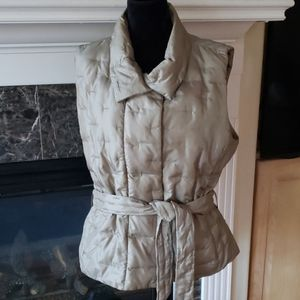 TALBOTS down filled quilted belted vest XL